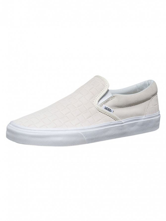 Vans Blanc De Classic Slip-On Suede Checkers Trainers
