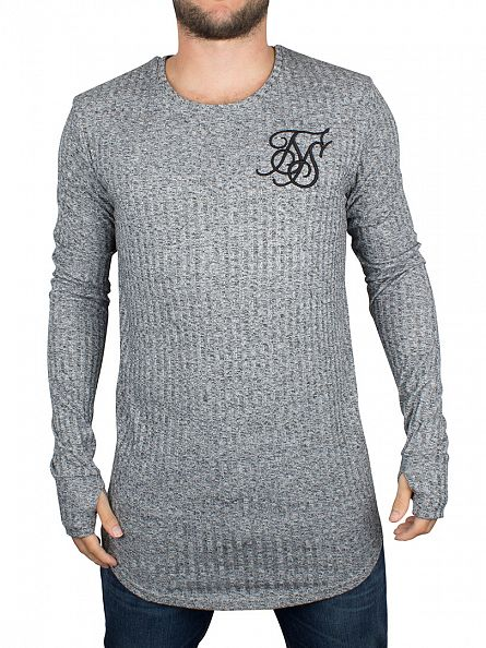 Sik Silk Dark Grey Longsleeved Rib Knit Curved Hem Logo T-Shirt