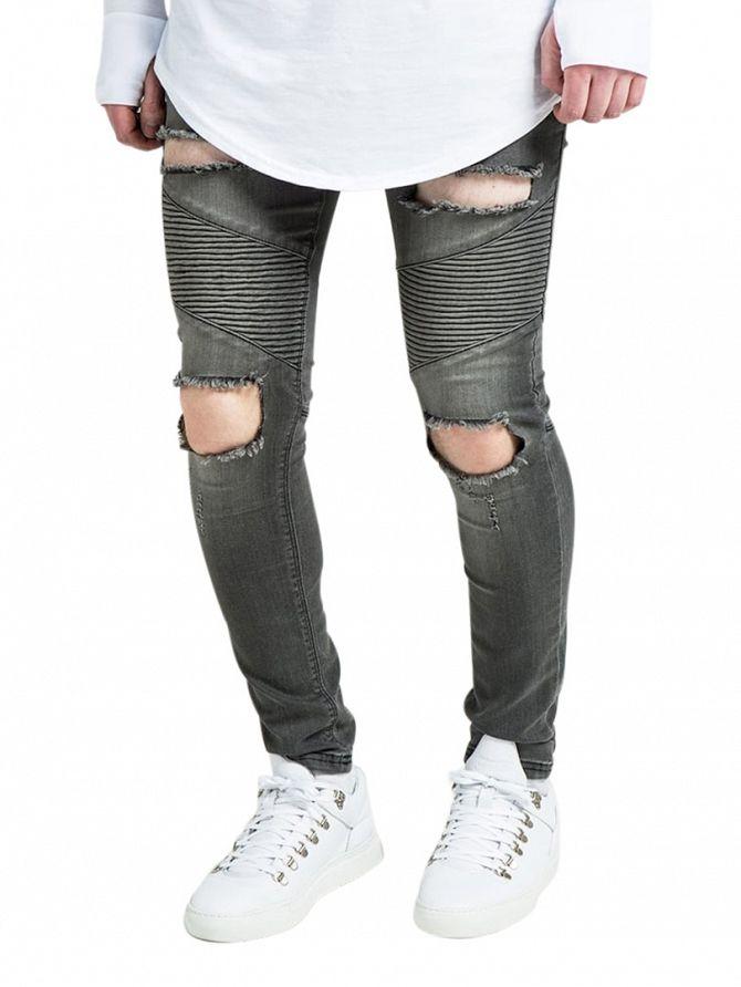 Sik Silk Washed Black Extreme Skinny Biker Jeans