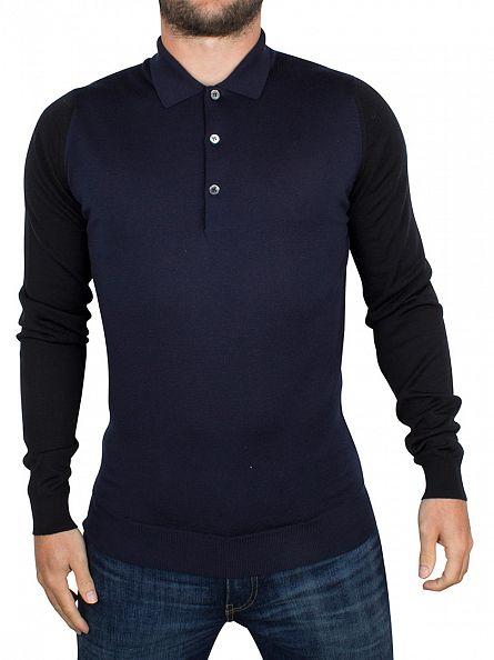 John Smedley Midnight Brightgate Raglan Colour Block Longsleeved Polo Shirt