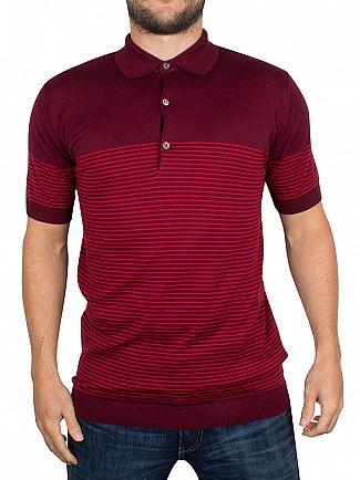 John Smedley Gardener Red Viking Striped Polo Shirt