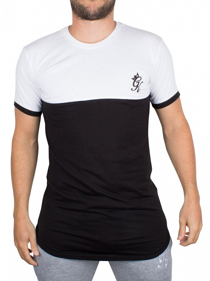 Gym King Black/White Curved Hem Contrast Panel Logo T-Shirt