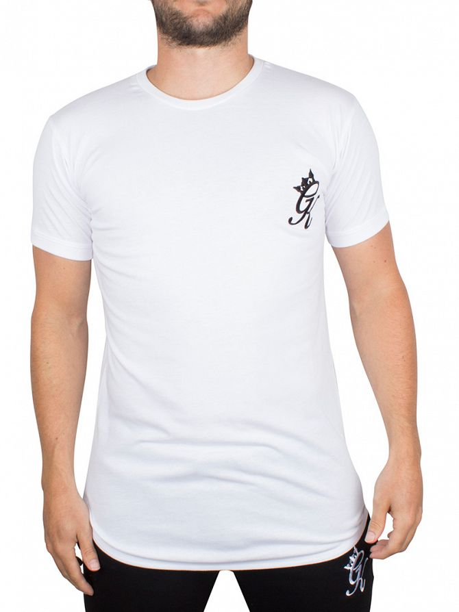 Gym King White Long Line Curved Hem Logo T-Shirt