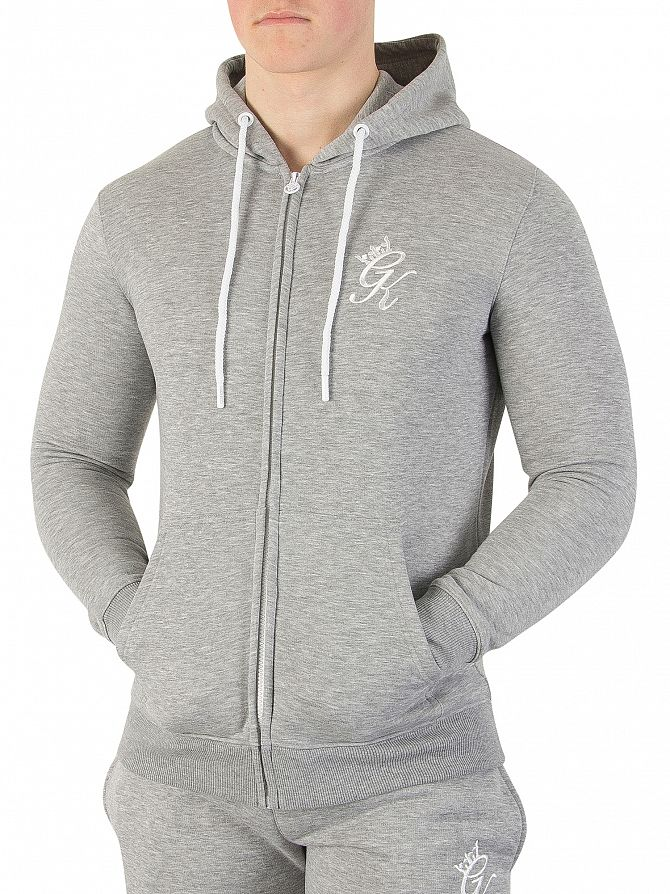 Gym King Grey Marl Core Logo Zip Hoodie