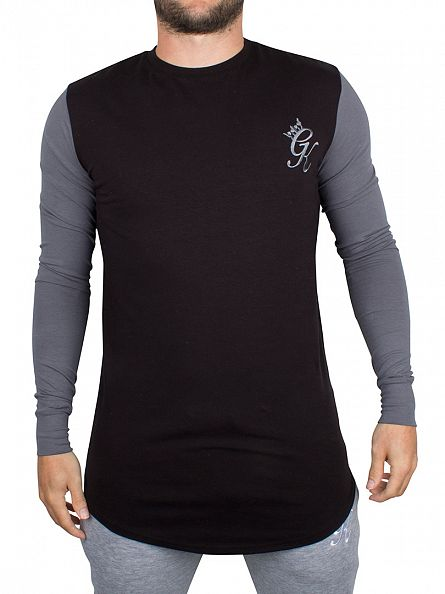 Gym King Black/Steel Longsleeved Curved Hem Contrast Panel Logo T-Shirt