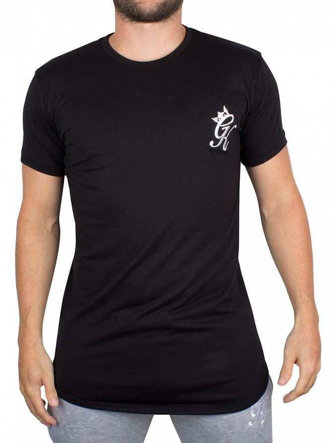 Gym King Black Long Line Curved Hem Logo T-Shirt