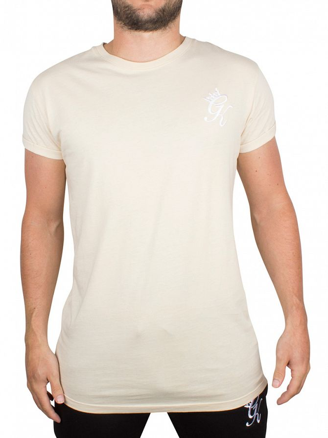 Gym King Sand Cap Sleeve Curved Hem Logo T-Shirt