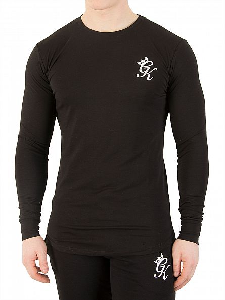 Gym King Black Longsleeved Curved Hem Logo T-Shirt