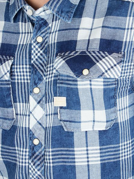 G-Star Indigo/Milk Check Landoh Popper Slim Fit Checked Shirt