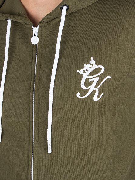 Gym King Khaki Core Logo Zip Hoodie