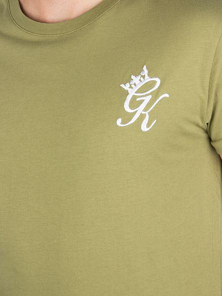 Gym King Khaki Cap Sleeve Curved Hem Logo T-Shirt