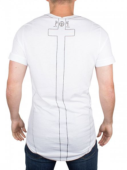Religion White Curved Hem Logo T-Shirt
