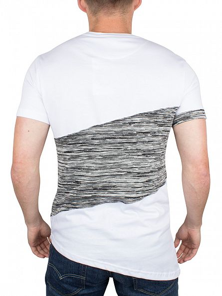 Bee Inspired White/Grey Calvay Panel Logo Curved Hem T-Shirt