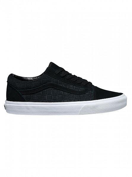 Vans Black Old Skool Suede Checkers Trainers