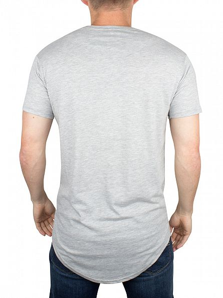 Sik Silk Grey Curved Hem Logo T-Shirt