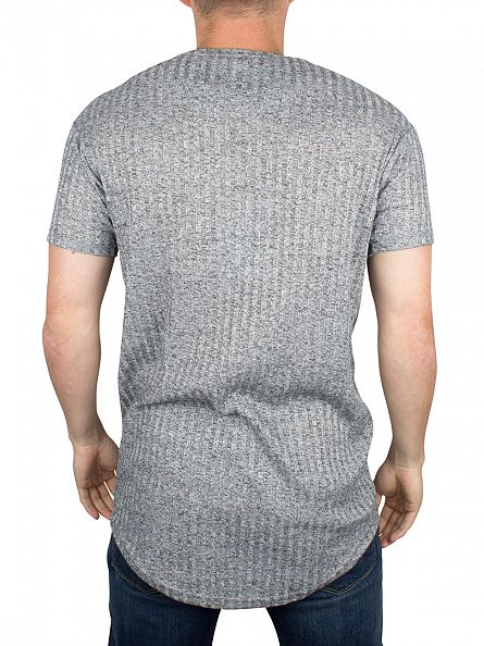 Sik Silk Dark Grey Rib Knit Curved Hem Logo T-Shirt
