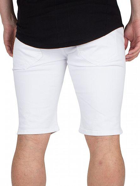 Sik Silk White Distressed Ripped Denim Shorts
