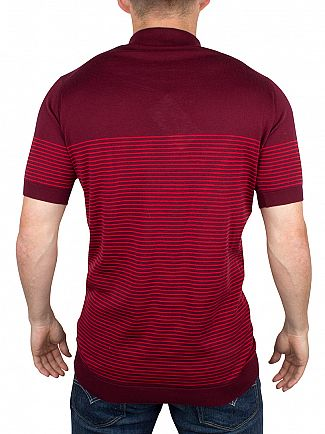 John Smedley Gardener Red Viking Striped Polo Shirt