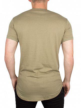 Gym King Khaki Long Line Curved Hem Logo T-Shirt