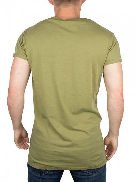 Gym King Khaki Cap Sleeve Curved Hem Logo T-Shirt