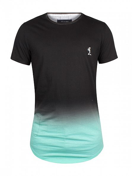 Religion Black/Mint Block Fade Logo T-Shirt