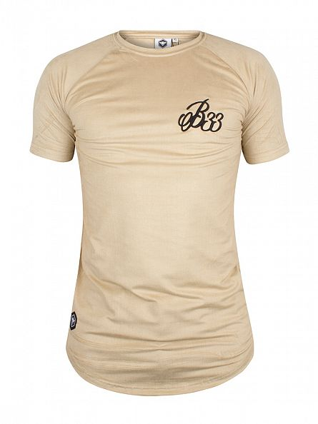 Bee Inspired Stone Calder Suede Textured Curved Hem Logo T-Shirt