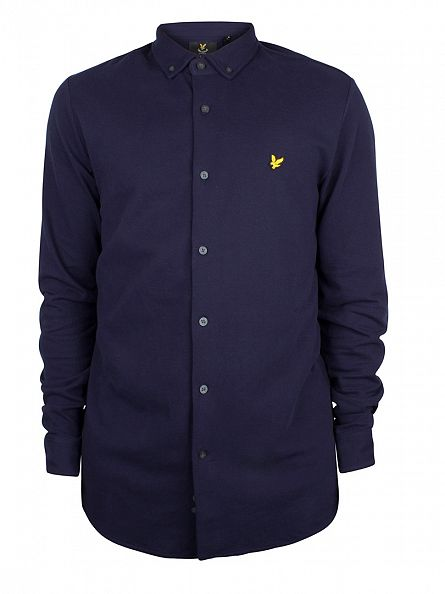 Lyle & Scott Navy Button Through Pique Shirt