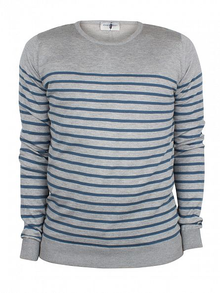 John Smedley Silver/Blue Redfree Striped Knit