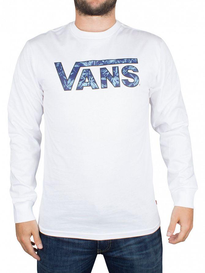 Vans White Indigo Bloom Longsleeved Floral Classic Logo T-Shirt