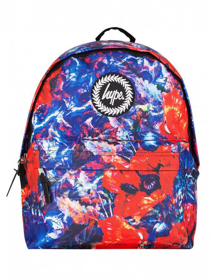 Hype Blue/Red Multi Poppy Paint Logo Backpack