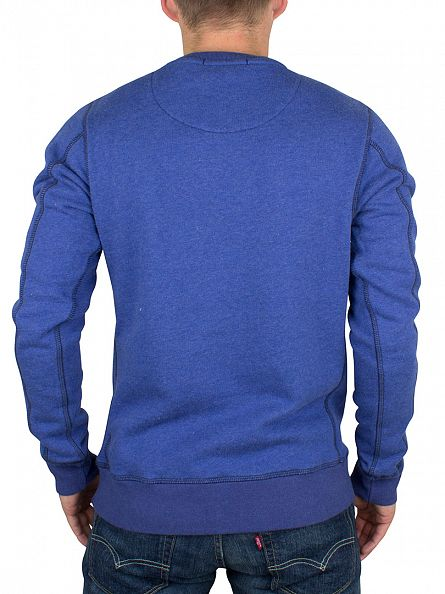 Scotch & Soda Worker Blue Melange Stitched Pattern Sweatshirt