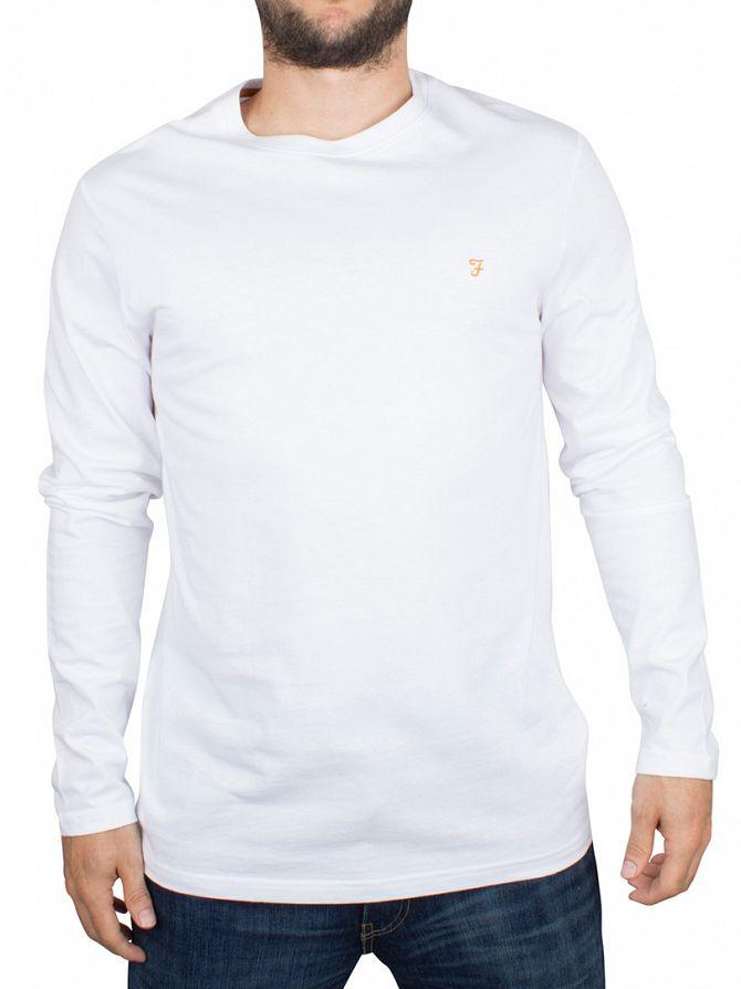 Farah Vintage White Denny Logo Longsleeved T-Shirt