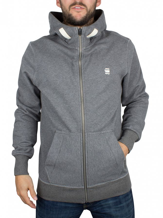 G-Star GS Grey Heather Varos Logo Zip Hoodie