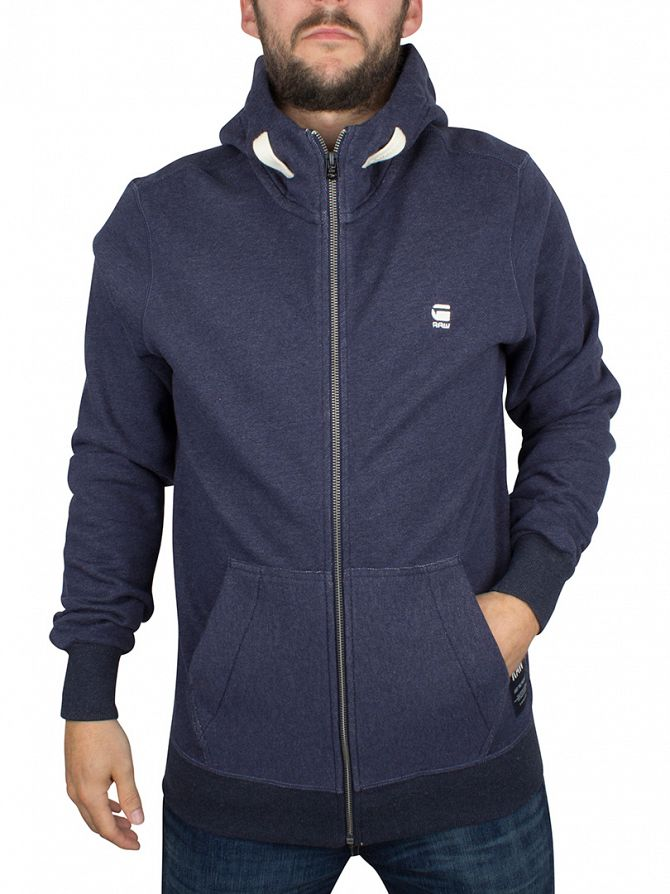 G-Star Sartho Blue Heather Varos Logo Zip Hoodie