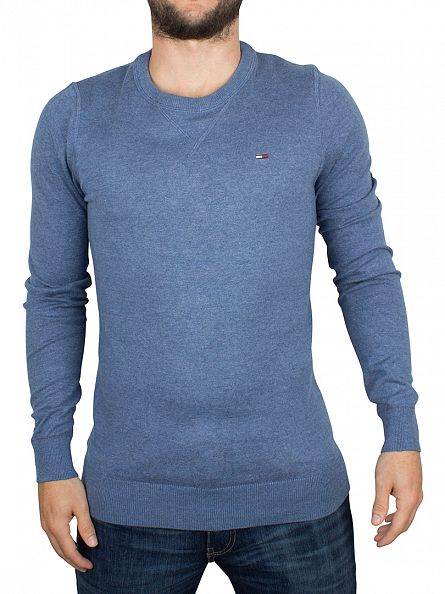 Hilfiger Denim Mid Blue Heather Basic Logo Knit