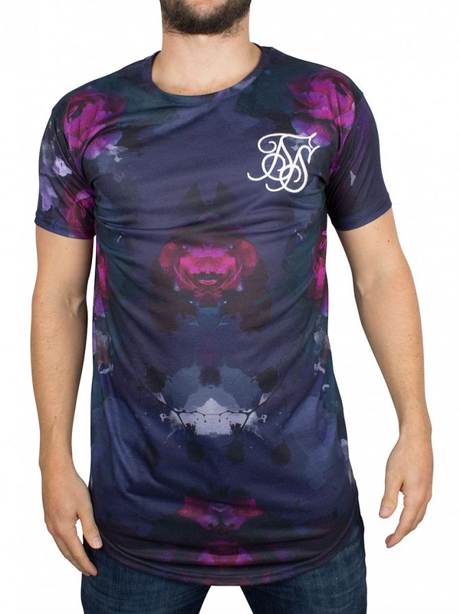 Sik Silk Pionie Ink Dark Floral Sublimation Curved Hem T-Shirt