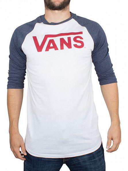 Vans White/Heather Grey 3/4 Raglan Logo T-Shirt