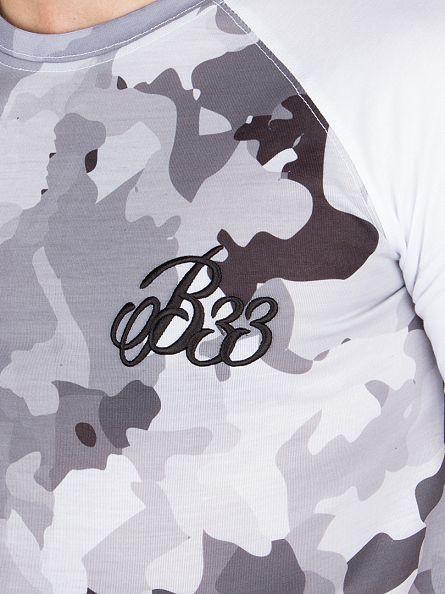 Bee Inspired Grey Loxley Raglan Camo Logo Curved Hem T-Shirt