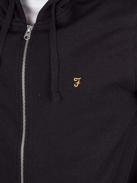 Farah Vintage Black Dale Loopback Zip Logo Hoodie