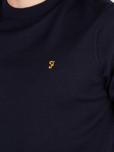 Farah Vintage Navy Mullen Wool Logo Knit