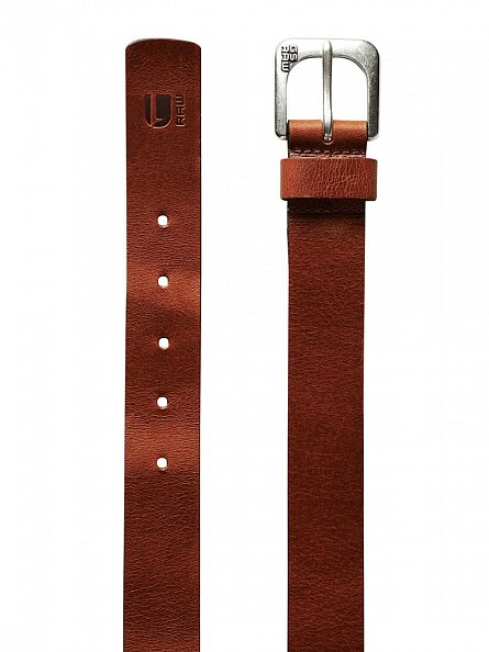 G-Star Cognac Zed Leather Logo Belt
