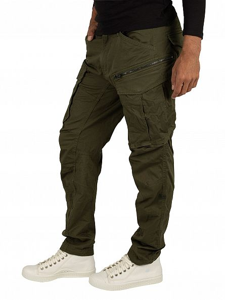 G-Star Dark Bronze Green Tapered Rovic 3D Cargos