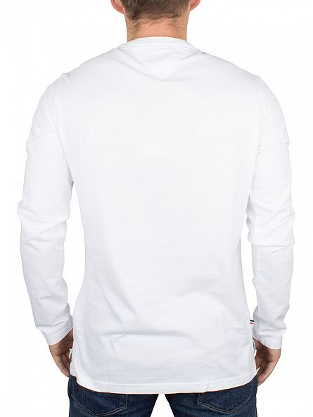 Hilfiger Denim Classic White Basic Logo Longsleeved Henley T-Shirt