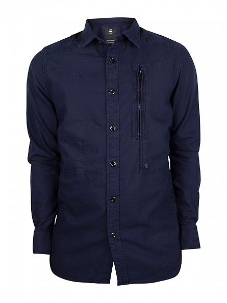 G-Star Sartho Blue Slim Fit Curved Hem Powel Shirt