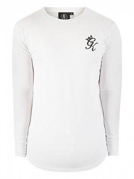 Gym King White Longsleeved Logo Curved Hem T-Shirt