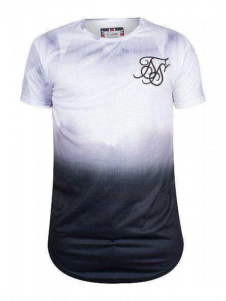 Sik Silk White/Black Dip Dye Logo Curved Hem T-Shirt