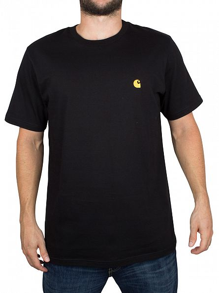 Carhartt WIP Black/Gold Chase Logo Loose Fit T-Shirt