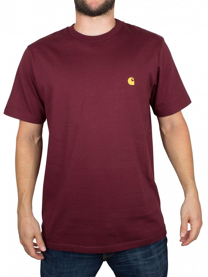 Carhartt WIP Chianti Red/Gold Chase Logo Loose Fit T-Shirt