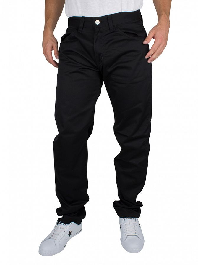 Carhartt WIP Black Rinsed Skill Pant Slim Fit Logo Chinos