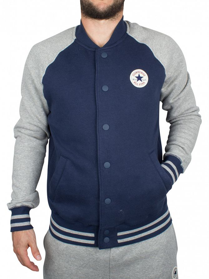 Converse Nighttime Navy Core Snap Logo Baseball Varsity Jacket